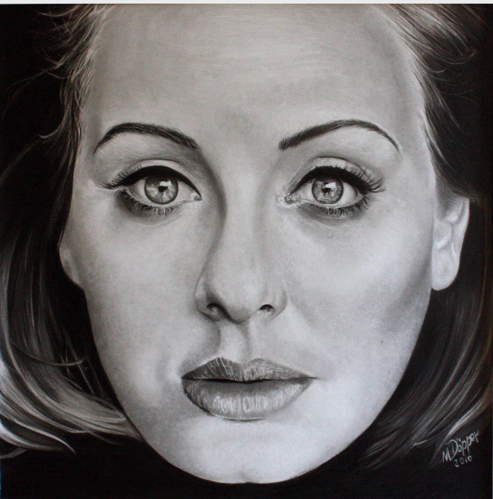 Adele, pencil and Polychromos on paper, 40cm x 40cm
