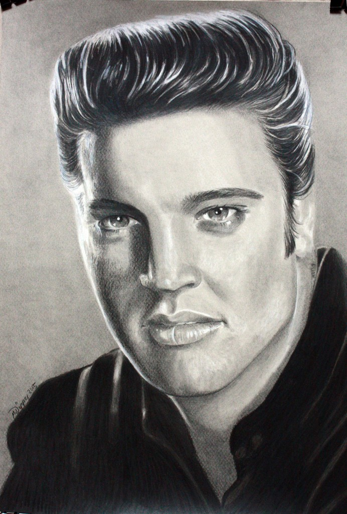 Elvis, pencil and Polychromos