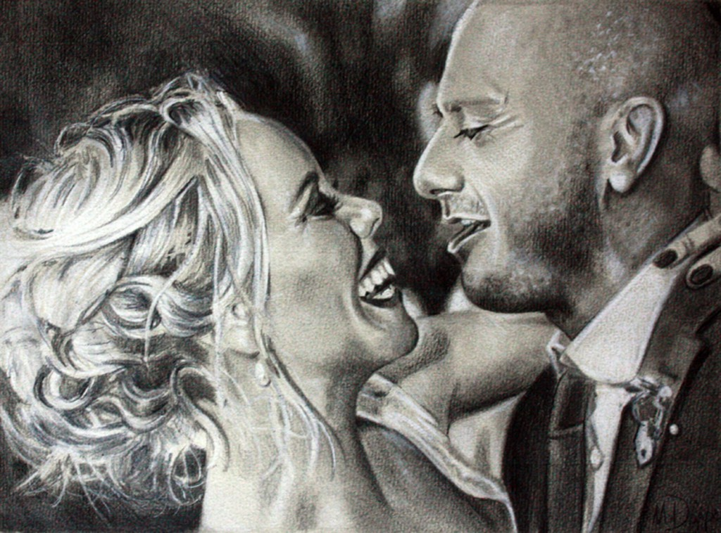 a beautiful couple, Polychromos and white chalk on paper