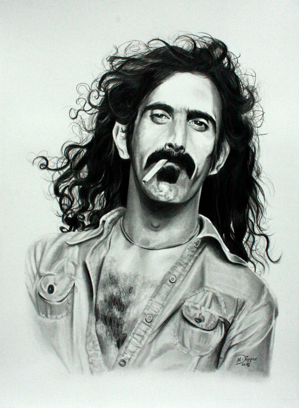 Frank Zappa, pencil and Polychromos on paper