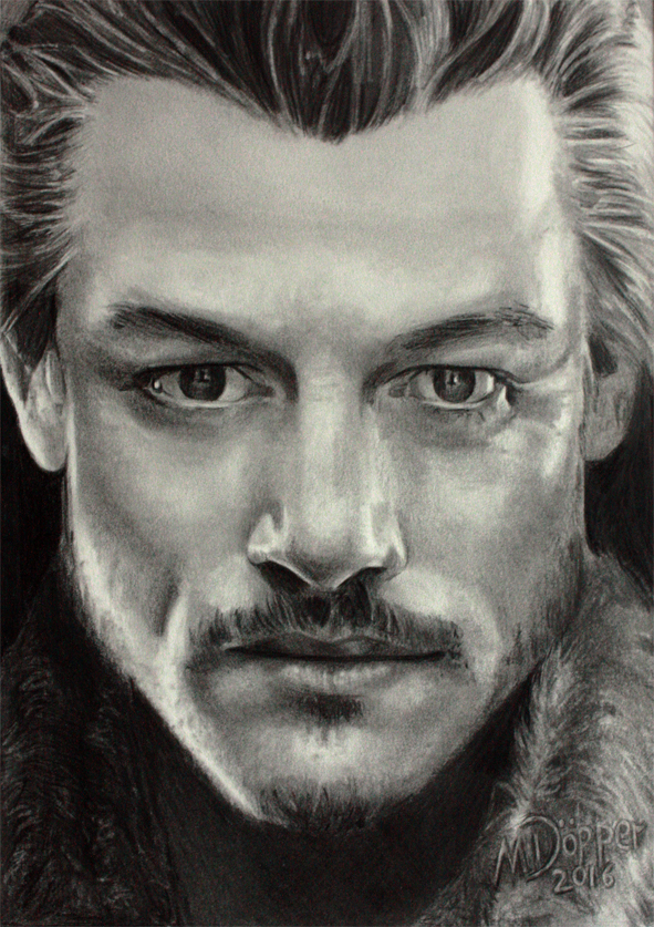 Luke Evans, Bard the Bowman in The Hobbit, pencil and Polychromos on paper
